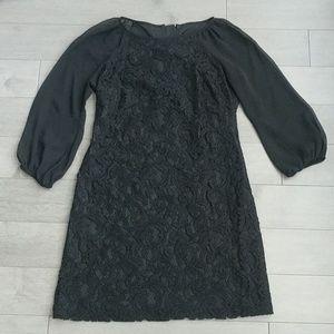Adrianna Papell black lace dress 4 petite